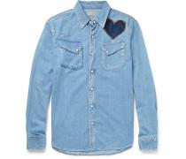 Slim-fit Appliquéd And Embroidered Denim Shirt