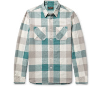 Slim-fit Checked Linen And Cotton-blend Shirt