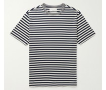 Garment-Washed Striped Cotton-Jersey T-Shirt