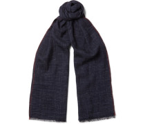 Checked Silk And Linen-blend Scarf
