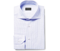 Blue Slim-fit Cutaway-collar Broken-pinstriped Cotton Shirt