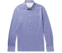 Button-down Collar Mélange Cotton-piqué Polo Shirt
