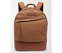 Kastrup Leather-Trimmed Organic Cotton-Canvas Backpack