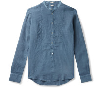 Kos Garment-Dyed Grandad-Collar Poplin-Trimmed Linen Half-Placket Shirt