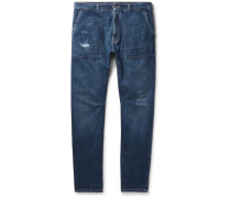 Slim-fit Distressed Selvedge Denim Jeans