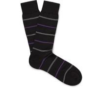 Stanhope Striped Merino Wool-blend Socks