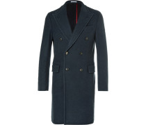Blue Double-breasted Wool Coat