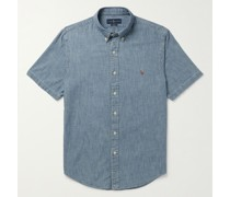 Slim-Fit Button-Down Collar Logo-Embroidered Cotton-Chambray Shirt