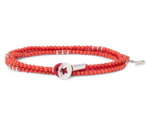 Saracino Coral And Silver Wrap Bracelet