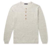 Mélange Linen and Silk-Blend Henley Sweater