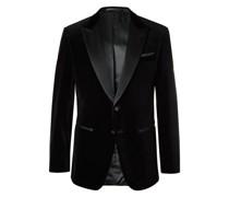 Helward Slim-Fit Silk Satin-Trimmed Cotton-Velvet Tuxedo Jacket