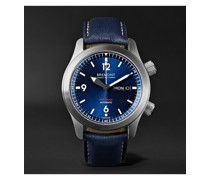 U-2 Blue Automatic 43mm Stainless Steel and Leather Watch, Ref. U-2/BL/R