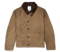 Deckhand Albacore Stripe and Shearling-Trimmed Cotton Jacket