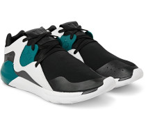 Qr Run Leather-trimmed Neoprene Sneakers