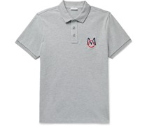 Slim-Fit Logo-Embroidered Melangé Cotton-Piqué Polo Shirt
