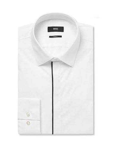 Hugo boss herren white slim fit satin piped cotton tuxedo for Best slim fit tuxedo shirt
