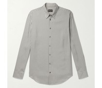 Slim-Fit Striped Cotton and Silk-Blend Shirt