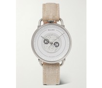 Moon-Phase 35mm Stainless Steel and Linen Watch, Ref. No. 10639