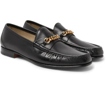 Chain-trimmed Leather Loafers