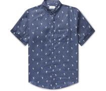 Jack Button-Down Collar Printed Linen Shirt