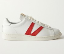 Corda-Folk Suede-Trimmed Leather Sneakers
