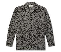 Camp-Collar Leopard-Print Wool-Blend Flannel Shirt