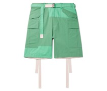 Belted Panelled Cotton-Blend Oxford and Shell Cargo Shorts