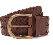 4.5cm Dark-Brown Woven Leather Belt