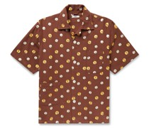 Camp-Collar Embroidered Cotton Shirt
