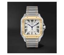 Santos Automatic 39.8mm 18-Karat Gold Interchangeable Stainless Steel and Leather Watch, Ref. No. W2SA0006