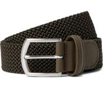 4cm Leather Trimmed Woven Elastic Belt