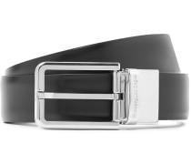 3cm Black and Dark-Brown Reversible Leather Belt