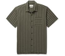Camp-Collar Striped Organic Cotton-Seersucker Shirt