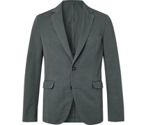 Slim-Fit Unstructured Garment-Dyed Cotton and Linen-Blend Suit Jacket