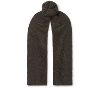 Ribbed Mélange Merino Wool and Cashmere-Blend Scarf