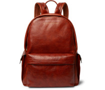 Suede-Trimmed Burnished Full-Grain Leather Backpack