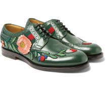 Appliquéd Leather Wingtip Brogues