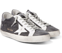 Superstar Distressed Leather And Nubuck-trimmed Canvas Sneakers