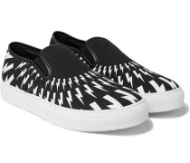 Printed Canvas Slip-on Sneakers