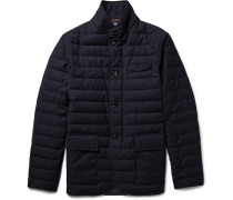 Slim-fit Leather-trimmed Quilted Wool Down Jacket