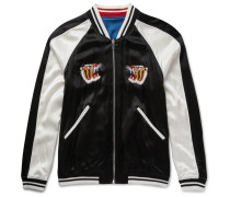 Reversible Embroidered Satin Souvenir Bomber Jacket