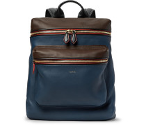 Colour-block Leather Backpack
