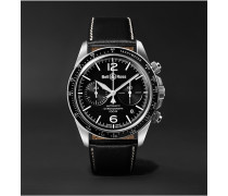 BR V2-94 Automatic Chronograph 41mm Stainless Steel and Leather Watch, Ref. No. BRV294-­‐BL-­‐ST/SCA