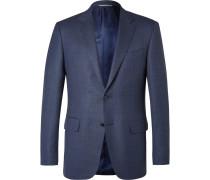 Blue Slim-fit Slub Wool Travel Blazer