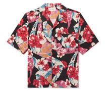 Camp-Collar Floral-Print Lyocell Shirt