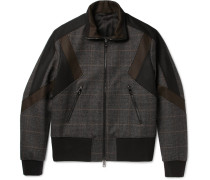 Panelled Prince Of Wales Checked Wool-blend Bomber Jacket