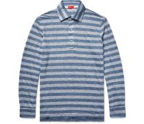 Striped Knitted Slub Linen Polo Shirt