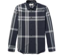 London Slim-fit Checked Cotton-seersucker Shirt
