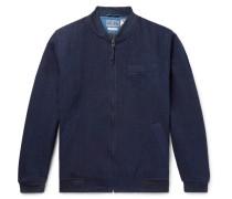 Sashiko-stitched Indigo-dyed Denim Bomber Jacket