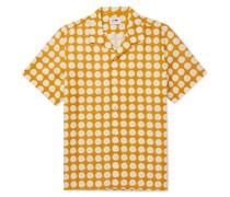 Miyagi Camp-Collar Polka-Dot Lyocell and Linen-Blend Shirt